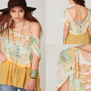 Free People Sheer Peach and Teal Blouse Size Small